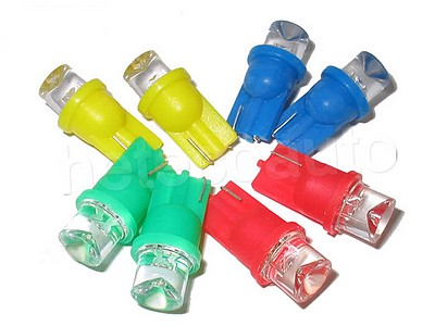 Led lampen r10 t10 w3w w5w 12v voor in de tellers en for Kleur led lampen